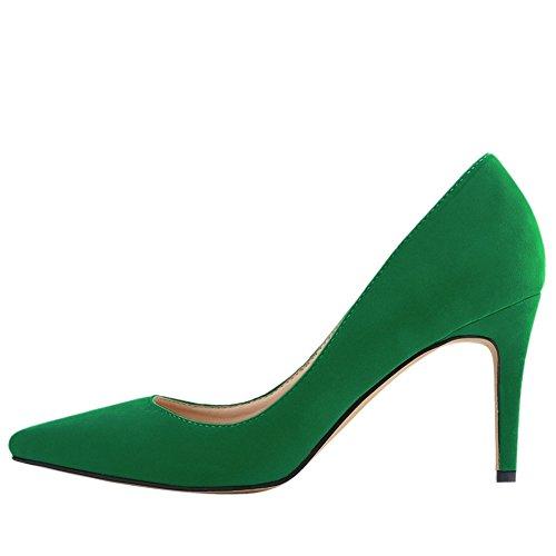 OCHENTA Femme Escarpin Suedine Classique Talon Aiguille A Enfiler Chaussures Plusieurs Couleur Vert