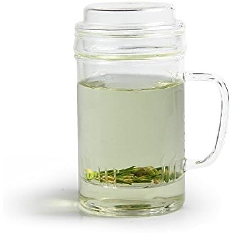 Taza de cristal con tapa y filtro y de cristal para Loose Leaf Teas–400ml