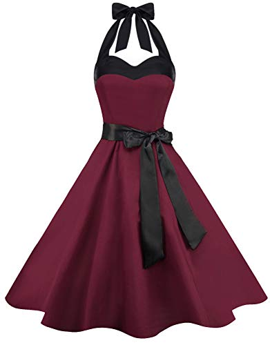 Zarlena Damen 50er Retro Rockabilly Pola Dots Petticoat Neckholder Kleid Burgundy X-Large DROD-PLN-BRG-XL