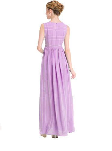 ACVIP Damenkleid Ärmelllose mit Falten Elegant Polyester Lang Sommerkleider Lila
