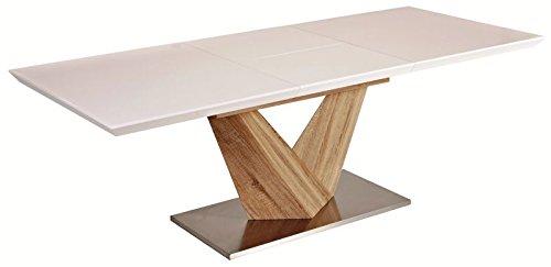 Jadella alaras - tavolo per sala da pranzo, allungabile, 90 x 160-220 x 75 cm, con supporto a colonna in legno di rovere sonoma, colore bianco lucido