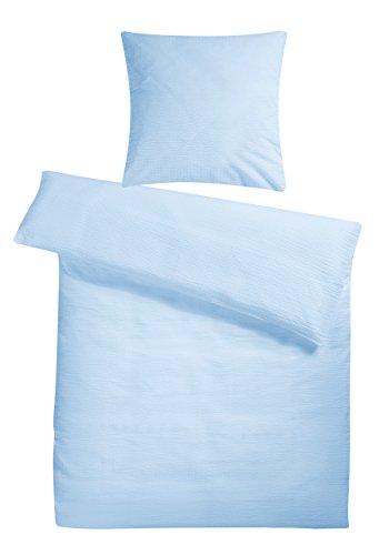 Leichtes Seersucker Bettwäsche Set 135x200 cm Hellblau Blau – atmungsaktiver Bettdecken- und Kopfkissen-Bezug aus reiner Baumwolle mit Reißverschluss – 2 teilige Sommerbettwäsche Premium-Qualität