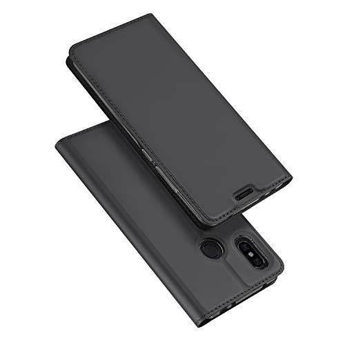 DUX DUCIS Hülle für Xiaomi Redmi Note 6 Pro,Ultra Dünn Flip Folio Handyhülle mit [Magnet,Standfunktion,1 Kartenfach] (Skin Pro Series) (Grau)
