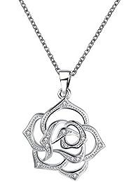 Collier Sautoir Pendentif Motif Fleur de Camélia, Plaque Argent 925/1000 avec Cristaux Autrichiens Transparents de haute qualité