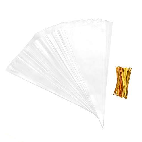 LABOTA 200 Stücke Große Größe Kegel Taschen Klar Cello Taschen Behandeln Taschen mit 200 Gold Twist Krawatten für Süßigkeiten, Handwerk, Geschenke (7,2x14,6 Zoll / 18x37 cm)
