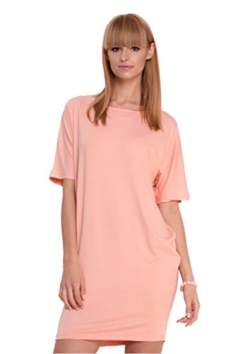 Damen Basic Kleid Dress Minikleid Kurz Gr. S M L XL 2XL 3XL Lachs