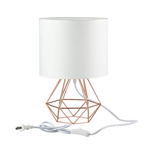 Jeffrien Vintage Tischlampe, DIY Tischleuchte Modern Körbchenstil Stil Kreativer für Schlafzimmer Nachttischlampe Arbeitszimmer Office Weiß und Rose Golden
