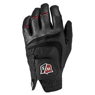 Wilson Staff Herren Golfhandschuh, Grip Plus, Material-Kombi, Größe: XL, Linkshand, MLH, schwarz, WGJA00103XL