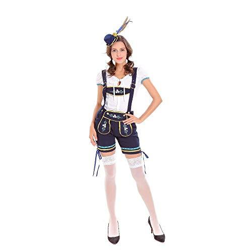 Wench Kostüm Shirt - MFBis Oktoberfest Damenkostüm Deutsches Bayerisches Biermädchen Drindl Tavern Wench Kostüm für Party, Trägerhose, M