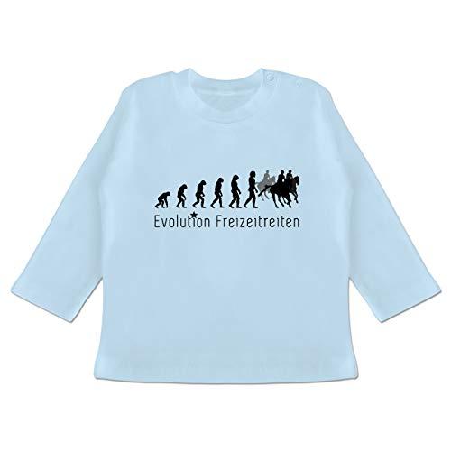 Evolution Baby - Freizeitreiten Ausreiten Reiten Evolution - 6-12 Monate - Babyblau - BZ11 - Baby T-Shirt Langarm
