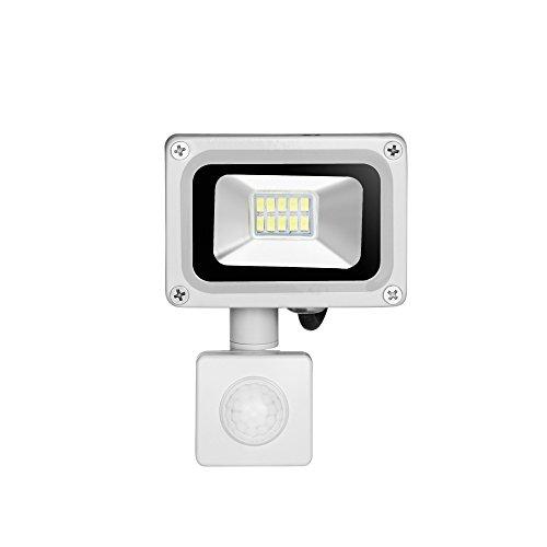 Preisvergleich Produktbild Himanjie® LED Projektor Außen mit Bewegungsmelder verstellbar Licht Kaltweiß (6000K-6500K), wasserdicht IP65Für Garten, Hof, Terrasse, Square, 10W 10.00 watts