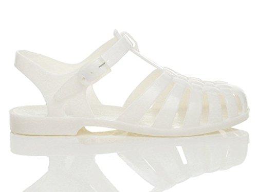 Damen Flache Gummi Sandalen Mit Schnalle Retro 90er Flip Flops Schuhe Grösse Weiß