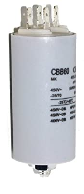 High Quality Motor Capacitor Value 4 Micro Farad (4uf) 400v, Standard 6.3mm Tab Terminals, Used On Many Dishwasher Motors