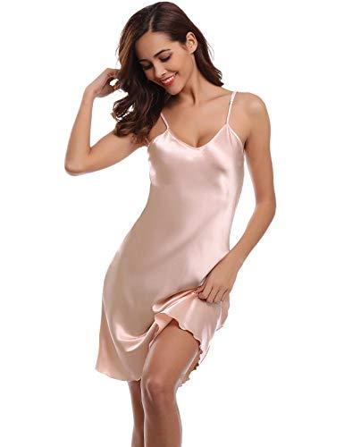 Abollria Damen Nachthemd Sexy Negligee Frau Sommer Nachtwäsche Satin Kleid Lingerie Klassische Bequem Nachtkleid V Ausschnitt Sleepwear Unterwäsche Kollektion (XXL, ()