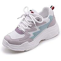 Vansney Moda Mujer Chunky Sneakers Mocasines Confort Señoras PU y Mesh Vamp Zapatos de Trabajo con Cordones Planos Entrenadores Deportes Correr Senderismo Grueso Inferior Plataforma Zapatos