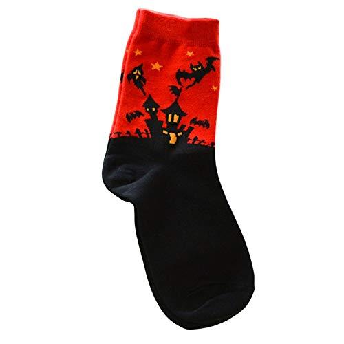 Halloween Neuheit Socken Kürbisse Fledermaus Hexe Kurze Socken Party Dress Up Kostüme für Männer Frauen Mädchen (Mann Mädchen Kostüm)
