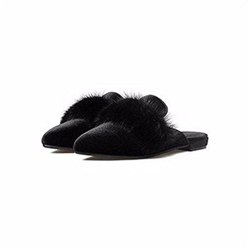 HOMEE Mesdames pantoufles plates extérieures occasionnelles paresseux chaussures automne et hiver 37 Eu
