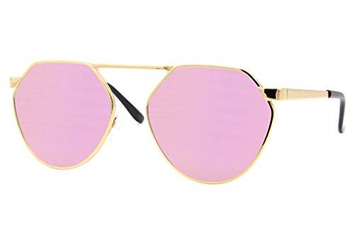 Cheapass Sonnenbrille Rund Gold Rosé-Gold Verspiegelt UV400 Designer-Brille Elegant Damen Frauen