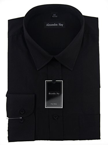 Alexander Hay Mens Plain Long Sleeves Formal Business Shirts 8 Colours Regular and King Size by A017