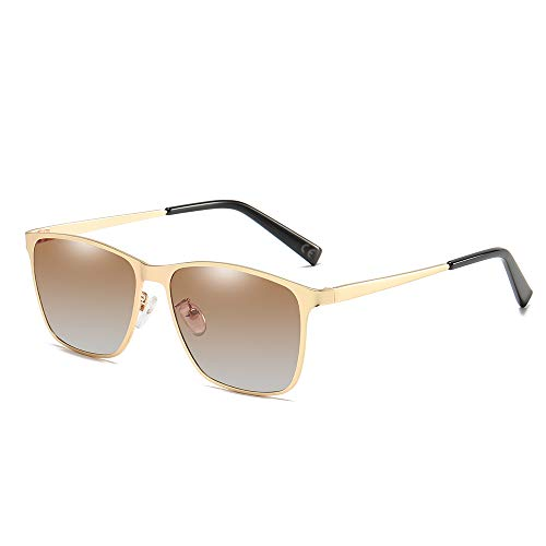 AMZTM Rechteckige Polarisierte Sonnenbrille für Herren - Ultra Leicht Blendung Reduzieren Gläser Fahren 100% UV-Schutz (Golden Rahmen Farbverlauf Brown Linse)