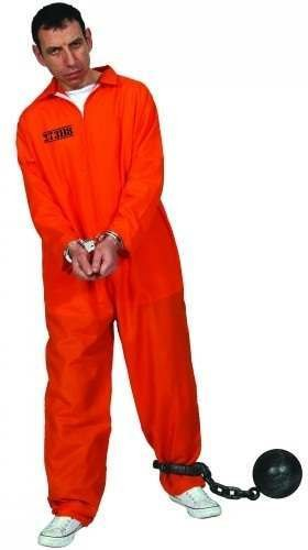 ORANGE CONVICT SUIT PRISONER ADULT COSTUME FANCY DRESS UP PARTY STAG ()