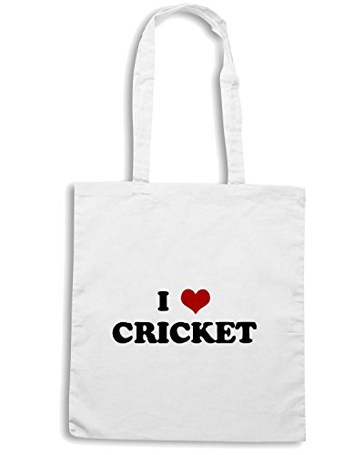 T-Shirtshock - Borsa Shopping TLOVE0018 i love cricket light Bianco