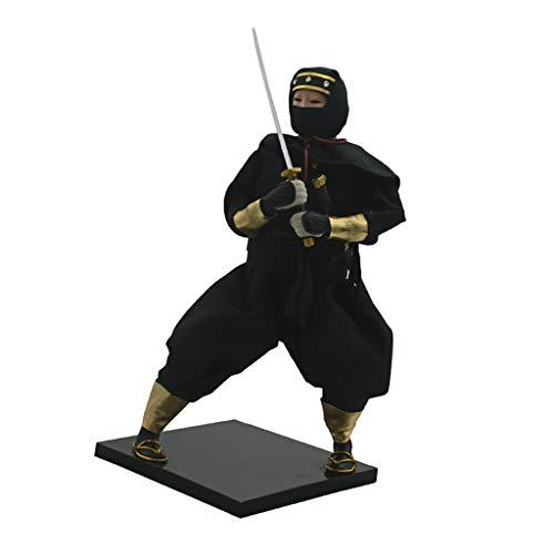 Baoblaze 12'' Handgemachte Vintag Japanischen Samurai Figur Puppe Spielfigur Dekofigur Sammfigur Handwerk - F