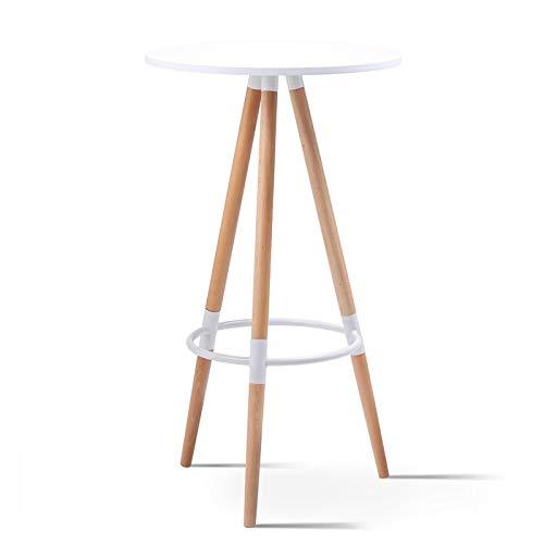 IDMarket - Table Haute de Bar Ronde scandinave Sara Blanche