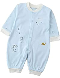 Naisicatar 1pc infante recién nacido niña de dibujos animados de manga larga Romper con el botón Mono Mono corto traje de manga larga linda Playsuit (azul del modelo del caballo)