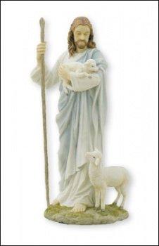 Statue de Jésus Bon Pasteur 29,2cm (28cm) haute Résine peinte à la main dans une boîte Christ de transport d'agneau avec un Mouton à SES Pieds..