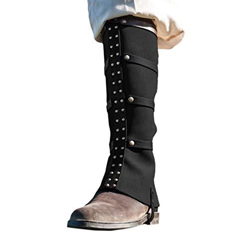 Stiefel Gamaschen aus Kunstleder, Vintage Medieval Shoes Cover Renaissance Victoria Pirate Boot Cover Stiefelstulpen für Karneval Fasching Halloween und Motto-Partys (Boot Überschuhe Kostüm)