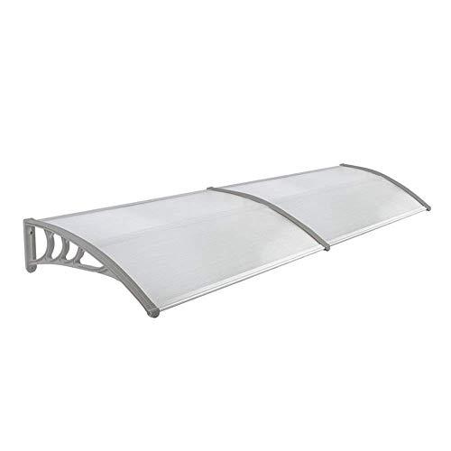 FROADP 240 x 76 cm Polycarbonat Transparentes Pultvordach Vordach Türdach - diverse Größen/Farbe Pultbogenvordach Überdachung (Grau) - Vordach Zubehör