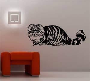 Online Design Tabby Katze Wand Kunst Aufkleber Vinyl Aufkleber Schlafzimmer Lounge - Rot -
