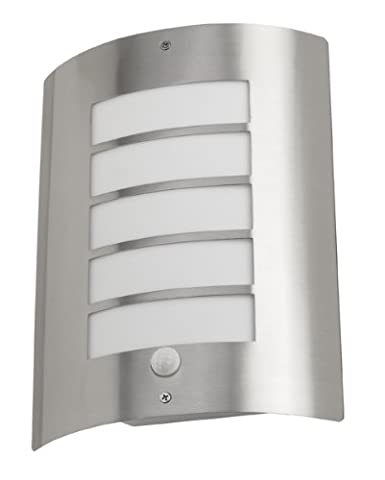 Leyton Lighting Avon Exterior IP44 Wall Light with PIR Motion Sensor, Stainless Steel Finish with Opaque Diffuser