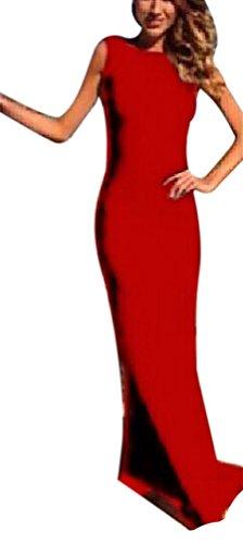 HaiDean Frauen Abendmode Young Fashion Maxikleid Lang Elegant Ärmellos Rückenfrei Eng Normallacks...