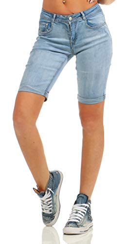 Fashion4Young 4971 Damen Jeans Bermuda Denim Shorts Kurze Hose Slim Fit Stretch Destroyed (blau, M-38)