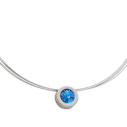 Heideman Halskette Damen Coma 16 aus Edelstahl Silber farbend matt Kette für Frauen mit Swarovski Stein Kristall Saphir hell blau im Fantasie Edelsteinschliff -