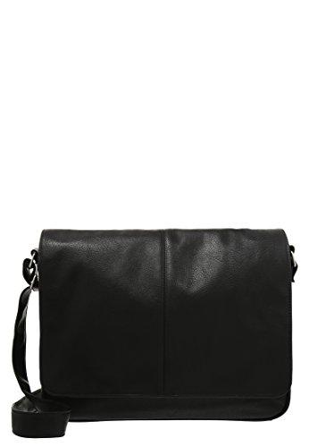 Pier One Herren Messenger Bag Herren - Business Tasche Schwarz (Handtasche Flap Klassische Bag)