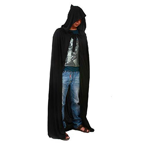 (LL Halloween-Umhang Männer Kostüm Halloween Tunika Kapuzen Robe Umhang Schwarz Mantel Teufel mit Cap Long Cape Cosplay Outfit)