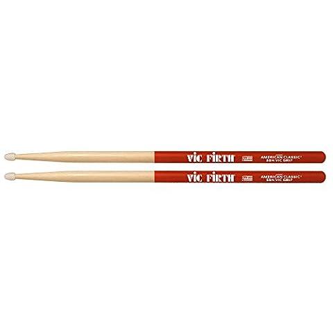 Vic Firth VF5BNVG 5B American Hickory Vic Grip Nylon Tip Drumsticks