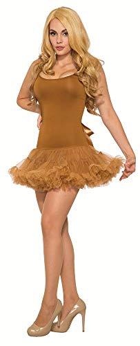 shoperama Basic Tutu Kleid kurz für Damen-Kostüme Gr. 38 Kostümzubehör Glitzer Katze Eule Fantasy Schmetterling REH Hirsch, Farbe:Braun mit ()