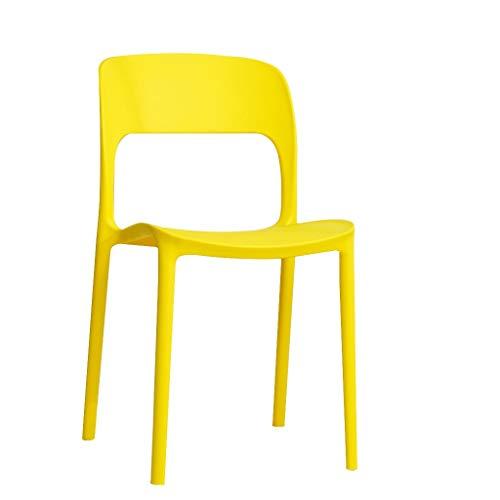 LXQGR Moderne esszimmerstühle Moderne stühle, Kunststoff erwachsenenstuhl moderner minimalistischer nordischer freizeitstuhl stapelbarer hocker Sitz freizeitstuhl (pp. Kunststoff) (Color : Yellow) - Moderner Kunststoff-stuhl