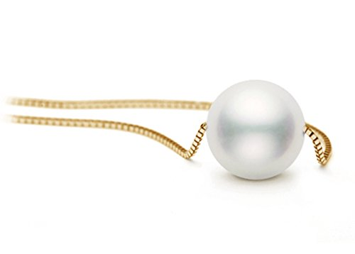 40,6cm 14K Or Blanc japonais de qualité AAA Akoya-Collier Femme-Perle de culture Solitaire