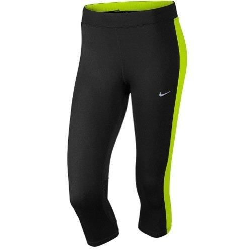 Nike Df Essential Capri Collant da Corsa - Multicolore (Nero/Volt/Volt) - XS