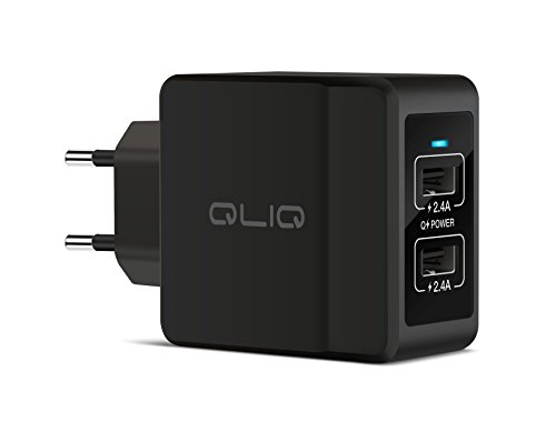 USB Ladegerät 4.8A - 2-Port Wall Charger, Quick Charge Ladeadapter 24W, Wandladegerät für Samsung Galaxy S9 / S8 / S7 / S6 / Note, iPhone X / 8/7 / 6, iPad, Tablets, Powerbanks, weitere Geräte