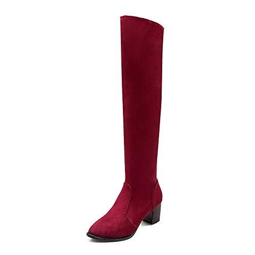 IWxez Damenmode Stiefel PU (Polyurethan) Winterstiefel Chunky Heel Overknee Stiefel Schwarz/Burgund, Burgund, US8 / EU39 / UK6 / CN39