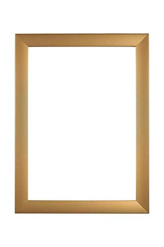 EUROLine 35mm MDF Bilderrahmen nach Maß für 40 cm x 40 cm Bilder, Farbe: Gold schlicht, Antireflex-Acrylglas