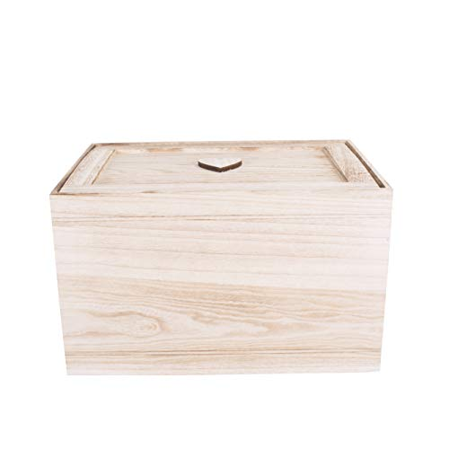 BASIC HOUSE Wooden Chest Kid Toys Storage Collection Box Wooden Crates Hamper (Large)