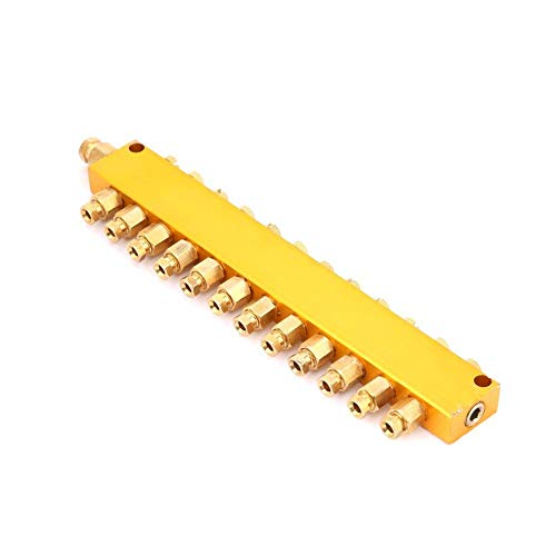 Einstellbare Ölverteiler Messing Wert Verteilerblock für mechanische Ausrüstung Schmiersystem 6mm Einlass 4mm Aus(1 inlet 12 outlet) -