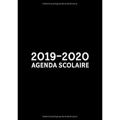 2019-2020 : agenda scolaire: Du 1er septembre 2019 au 31 août 2020 : aperçu hebdomadaire et mensuel, journal, planificateur & organiseur : motif noir simple 9986